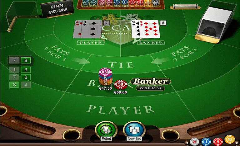 Online baccarat gameplay